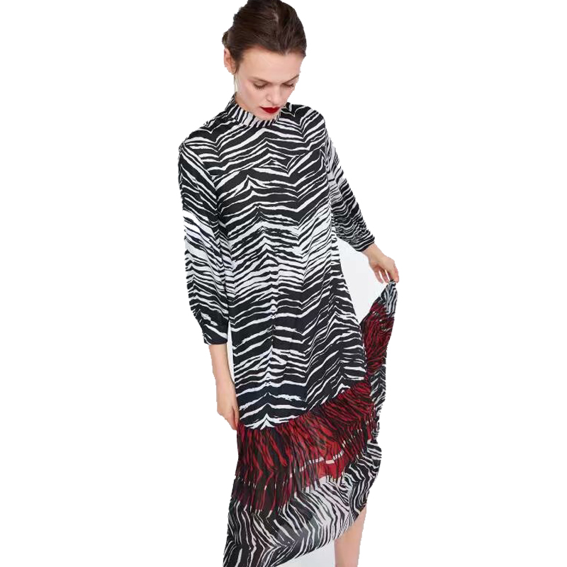 2018 za Women animal print shirt Flowing zebra print dress za loose print  dresses vestidos Women Clothing vestidos fd1152117