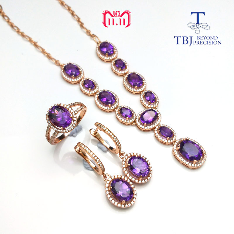 TBJ,Simple classic Jewelry set necklace ring earring with natural amethyst gemstone in 925 silver special jewelry gift for women tbj 2018 new enamel jewelry set pendant earring ring 925 sterling silver fine jewelry with leather chord necklace for women gift