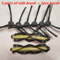 3 pairs (3R+3L)Vacuum cleaner side brush + 2pcs hair brush for replacement chuwi ilife A6 A4 A4s T4