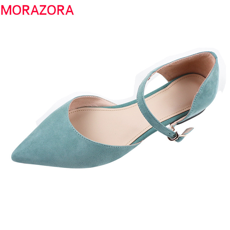 MORAZORA 2019 new arrival suede leather flat shoes women buckle summer shoes pointed toe single shoes