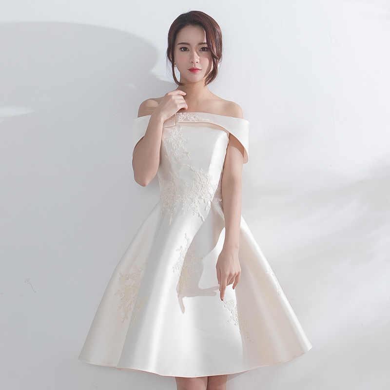 5b41bf59c81 Вивиан Свадебные 2018 без бретелек с открытыми плечами белый короткое платье  на выпускной спинки кружево до