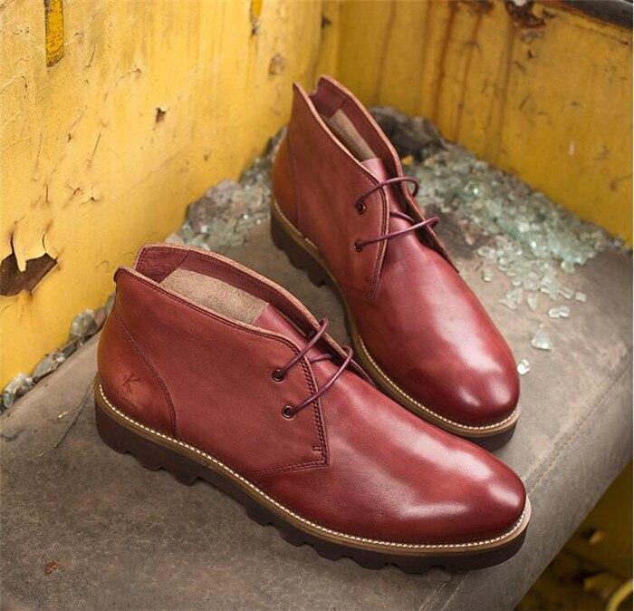 Con Martin Nueva De Botas Cordones Chelsea Personalidad marrón Pies Azul Los En Primavera Punta rojo Hombres wBxfqq8X
