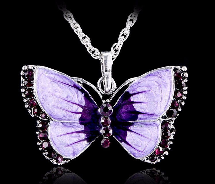 Boho Jewelry Butterfly Pendant Necklace 6 <font><b>Colors</b></font> Rhinestone Braided Rope Statement Necklace for Women Crystal Butterfly pendant