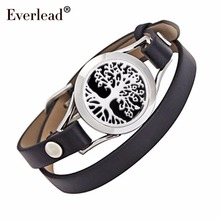 Everkead New Design Tree of life Bracelets Real Leather Essential Oil Diffuser Aromatherapy Locket Bracelets for Women
