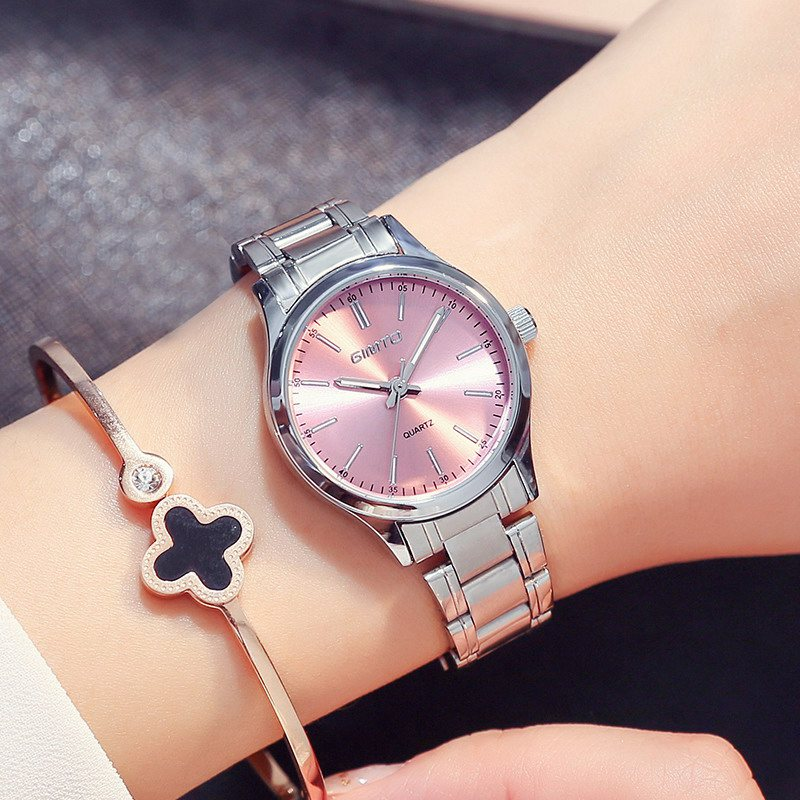 Silver Women Casual Watch Pink GIMTO Stainless Steel Simple Minimalism Quartz Ladies's Watches Elegant Business Dress Wristwatch