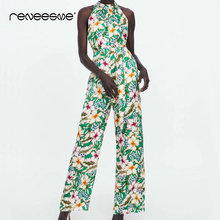 new summer floral print jumpsuits for women 2019 sashes high waist pleated open back ladies jumpsuits overalls female jumpsuits open back floral print romper