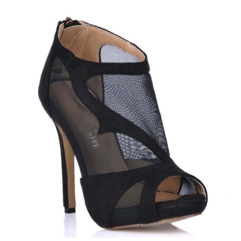hot sale women summer black zipper sandals mesh party wedding platform pumps stiletto high heeled open toe dress peep toe boots