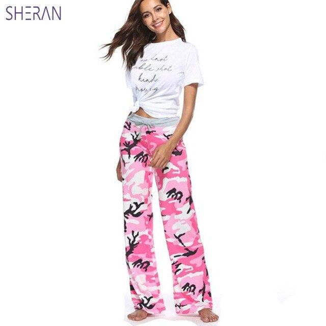 Шеран брюки для Для женщин 2018 летние свободные широкие штаны плюс Размеры S-3XL Micro Flare камуфляж брюки Для женщин s Костюмы