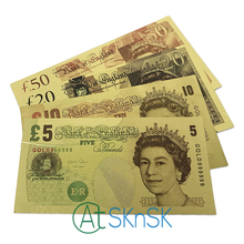 4pcs/lot Full set United Kingdom Pound Colorful Gold Foil plated double design UK Banknote for collection Banknote/paper money