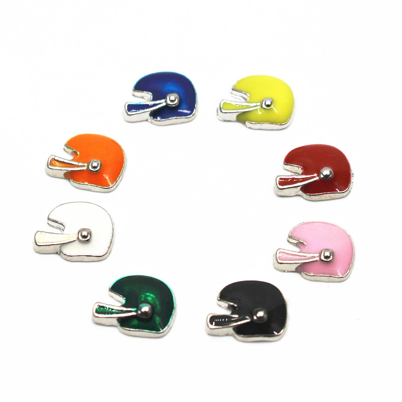 Hot selling Mix 8 10pcs/lot football helmet floating charms sports charms living glass memory lockets diy jewelry
