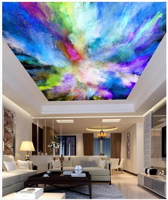 Couleur Salon Chambre Plafond Effet Papel Parede Mural Papier Peint