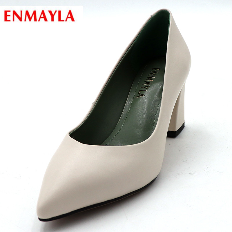 ENMAYLA Plus Size Women Shoes Pointed Toe Pumps Platform Slip-on Wedding Pumps Fur Ladies Shoes High Heels Dress Pumps Woman plus big size 34 47 shoes woman 2017 new arrival wedding ladies high heel fashion sweet dress pointed toe women pumps a 3