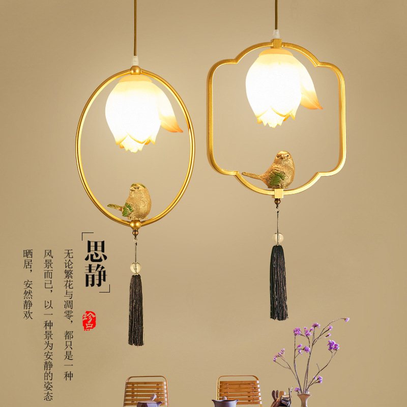 China Led Bird Lamp Iron Resin Bedroom Bedside Lamp Living Room Hallway Background Dining Room Foyer Parlor Hotel Pendant Lights|Pendant Lights| |  - title=