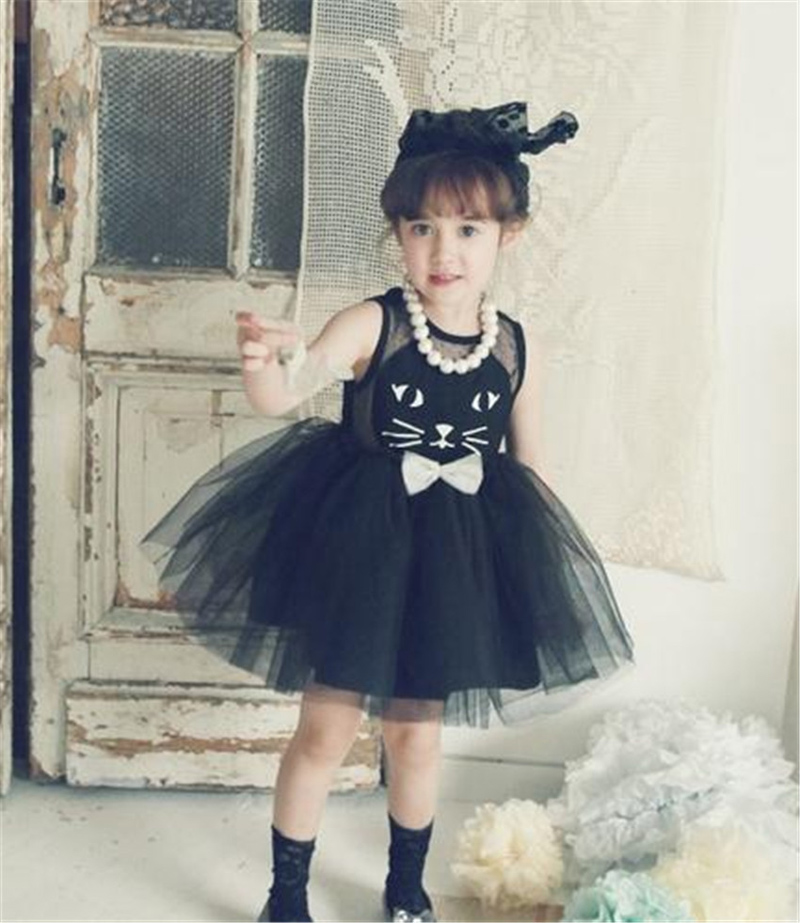 e6a292184 2019 New Casual Dress For Girls Toddler Princess Baby Cute Cat Prints Girl  Clothes Kids Party Dresses 2-7 Years Children Costume