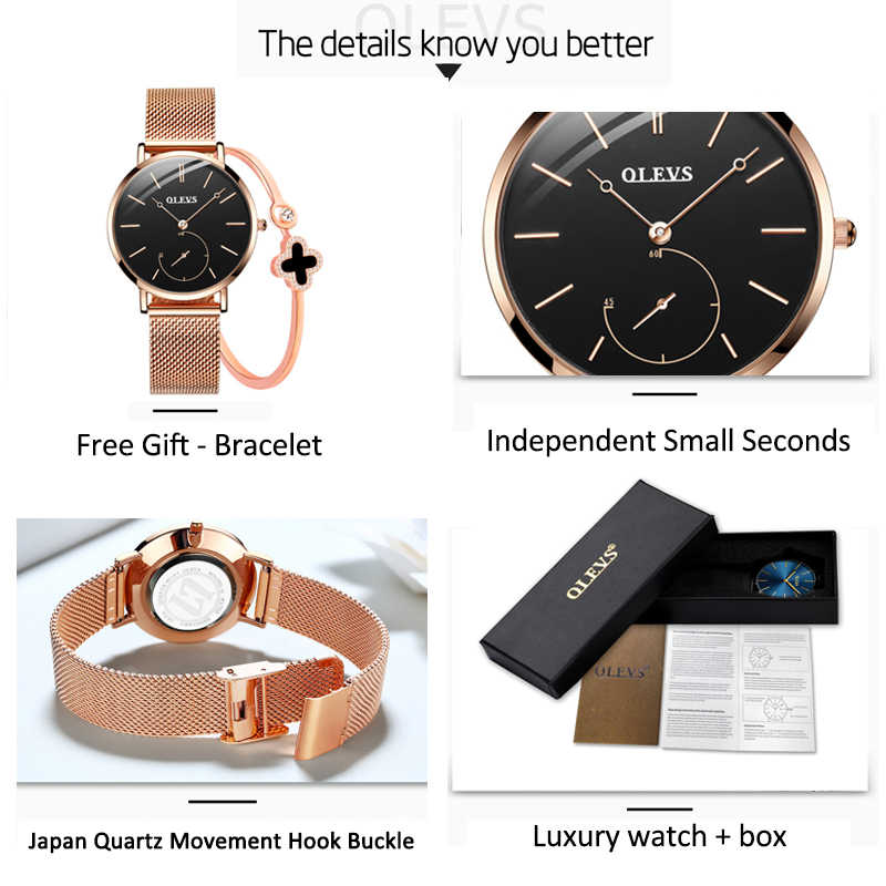 69e8540096a9 ... Reloj Mujer Fashion Wrist Quartz Watch Women Black Casual Ladies Dress  Watches Rose Gold Mesh Stainless ...