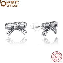 Delicate 925 Sterling Silver Sparkling Bow Stud Earrings Clear CZ Compatible with BME Jewelry PAS407