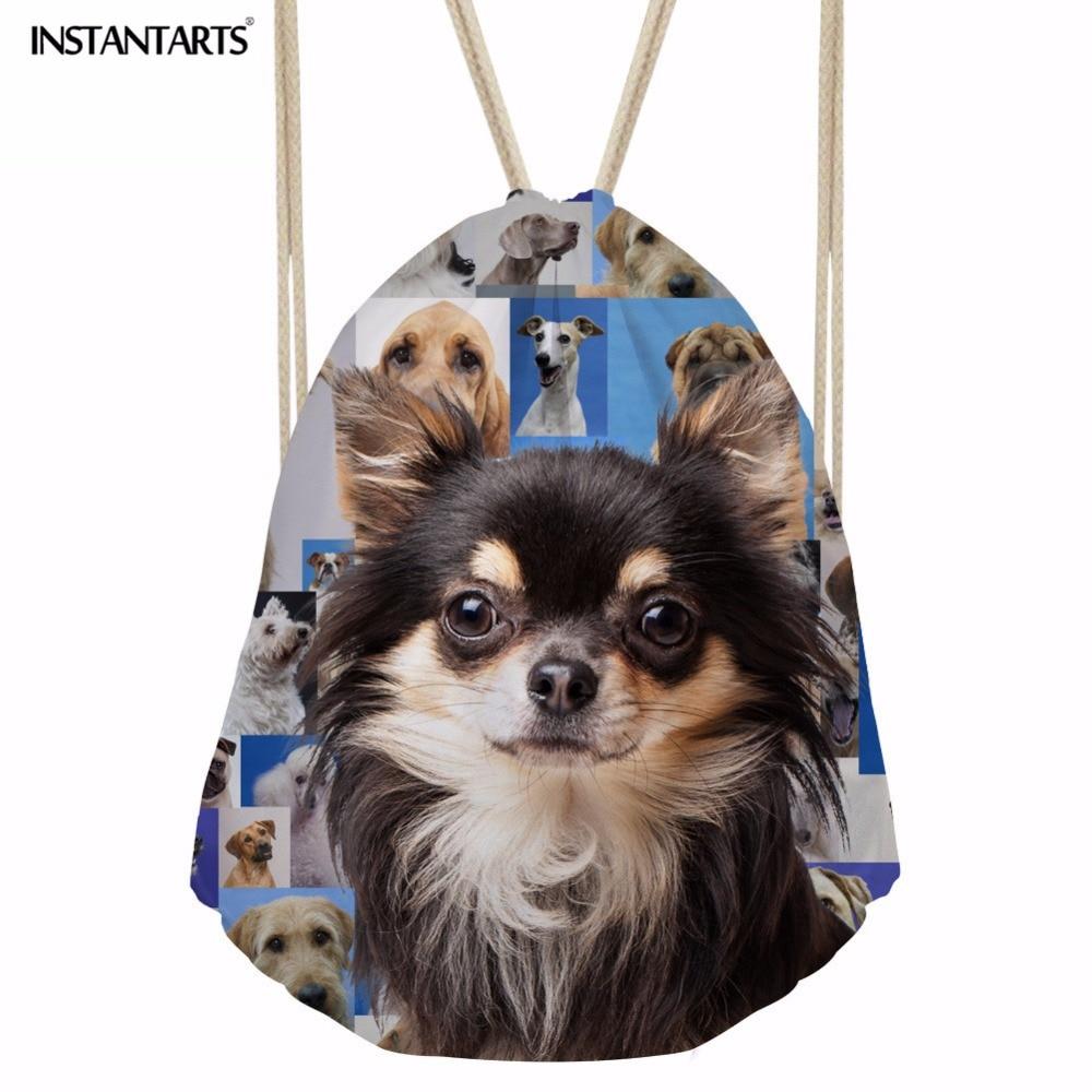 INSTANTARTS Pug Dog Drawstring Bags Women Men Small School Backpack 3D Pet Dog Puzzle Print Sack String Bagpack Light Schoolbags