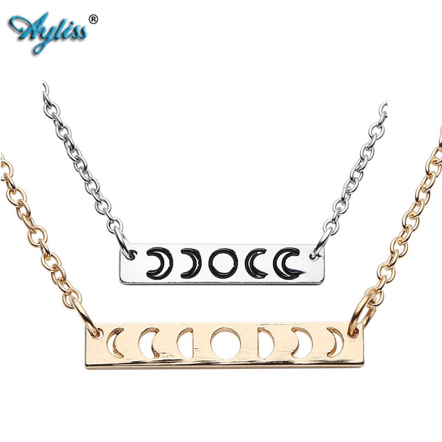 US $4 39 |Ayliss 2018 Brand New 1pc Silver Gold Moon Phase Neckece Hollow  Full Moon Crescent Moon Bar Pendant Charm Gift for Women Girls-in Pendant