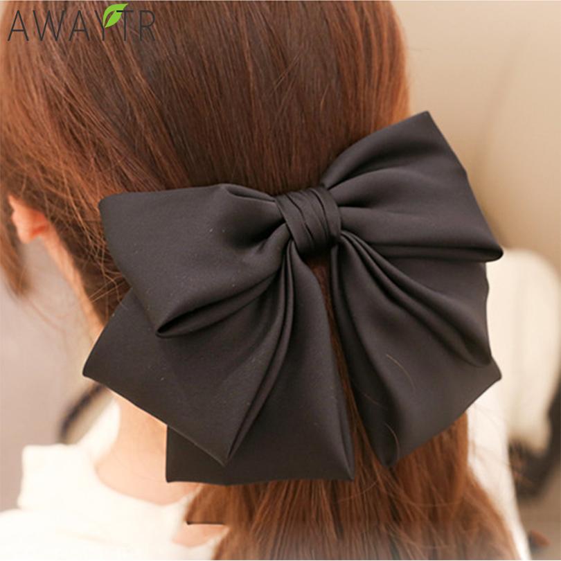 Oversized Bow Elastic Scrunchie Two-Color Stitching Girl Hair Bands Fashion Women   Headwear   Horsetail Fixed Hair Accessories