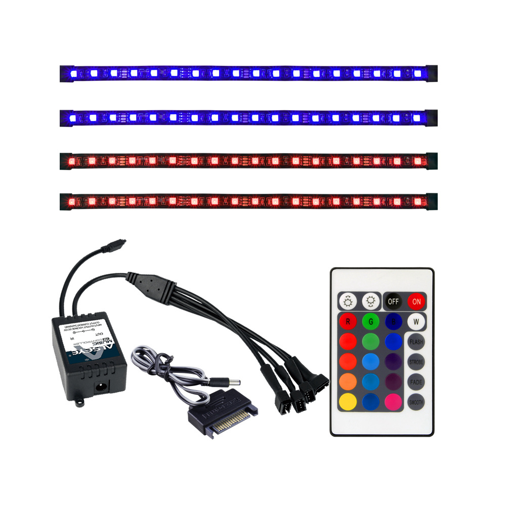 ALSEYE Remote RGB LED Strip Light 4 Channels Computer Case RGB Fan Controller and 30cm Sislicone Magnetic Strips (Duty free) alseye rgb led fan controller rgb led case fan and rgb strips radio frequency controller with touch remote control