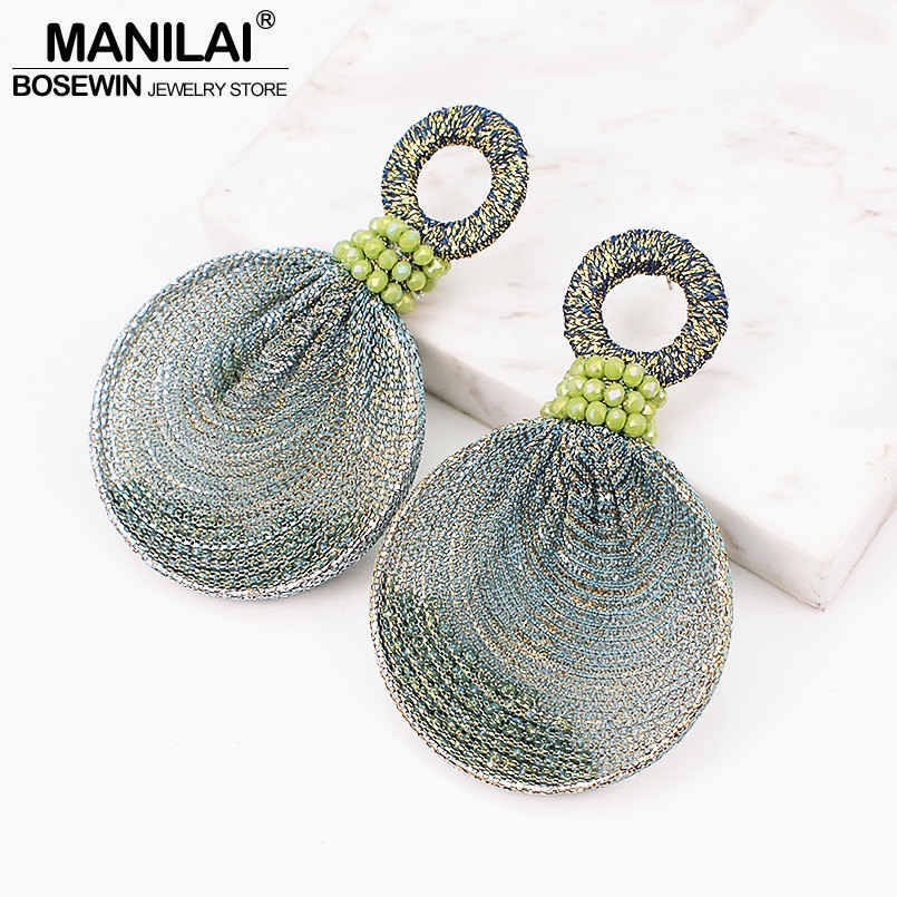 MANILAI Bohemia Resin Beads Drop Dangle Earrings Women Circular Silk Ribbon Elegant Statement Earrings Party Jewelry 5 Colors