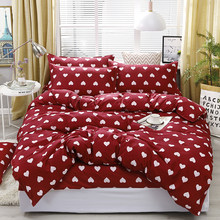 4pcs/set Red Full Of Love Printing High Quality Bedding Set Bed Linings Duvet Cover Bed Sheet Pillowcases Cover Set(China)