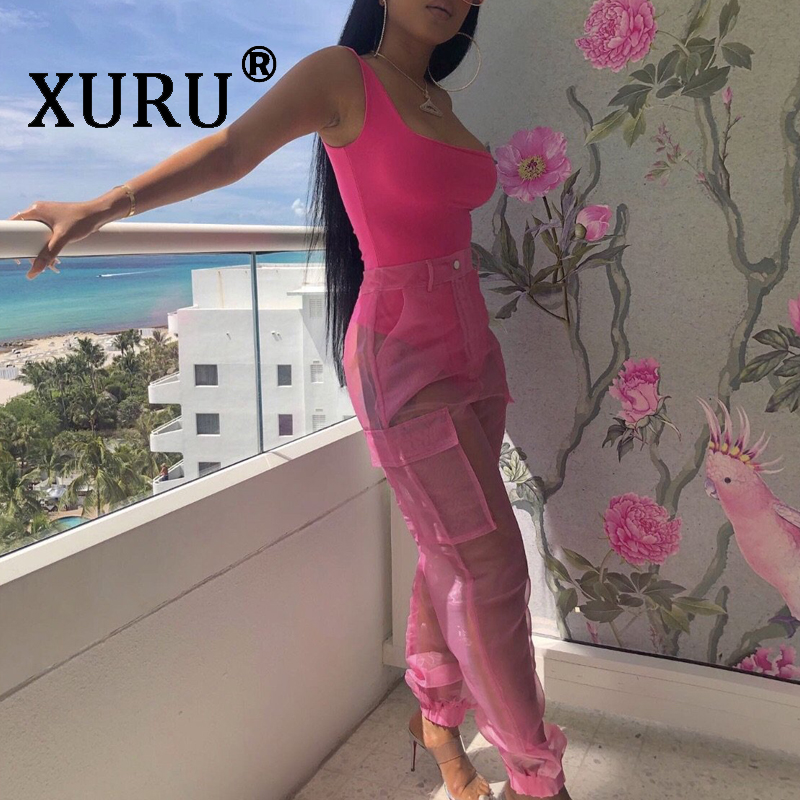 XURU new womens fashion sexy onesies organza casual jumpsuit two-piece
