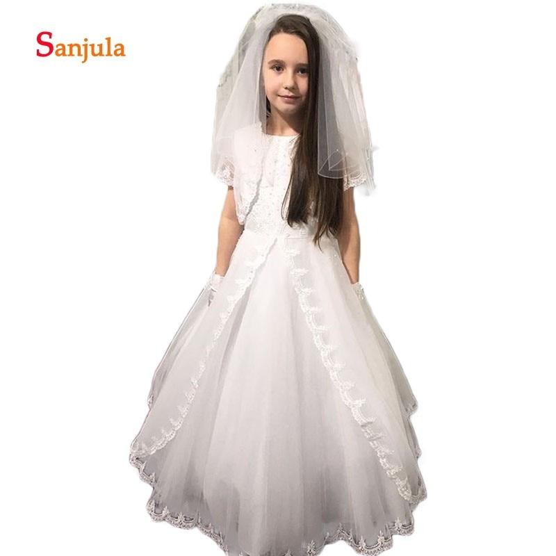 Child Wedding Party Dress with Jacket A-Line Appliques White Flower Girls Dress Short Sleeve Communion Gown vestido daminha D64