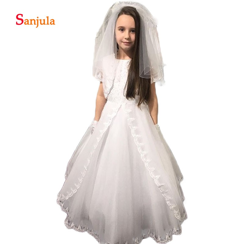 Child Wedding Party Dress with Jacket A-Line Appliques White Flower Girls Dresses O-Neck Short Sleeve vestido daminha D64