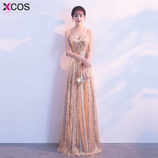 819e00eab44 2018 Champagne Gold A-line Evening Dresses Long With Sequins Sexy Backless Prom  Dress Evening Gowns