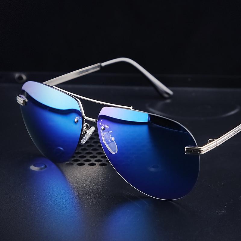 Angcen Men Polarized Sunglasses Metallique Rimless Gradient lunettes Men driving glasses  Men brand designer UV400