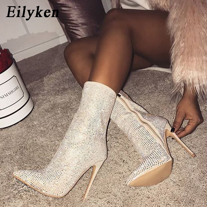 Image 2 - Eilyken Women  Ankle Boots Plus Size 35 42 Rhinestones High Heels Shoes Woman Zip Pointed Toe Sexy Motorcycle Boots For Females-in Ankle Boots from Shoes