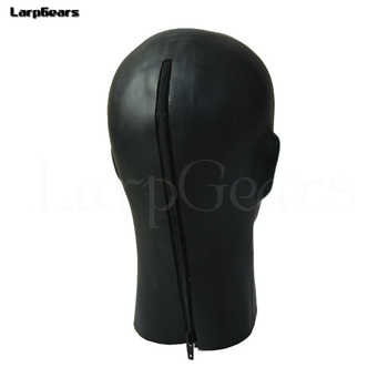 New hot 3D latex human mask hood closed eyes fetish hood w red mouth sheath tongue nose tube