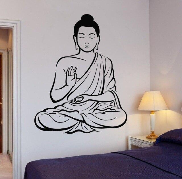 Buddha Tree Blossom Yoga Vinyl Wall Decal Buddhism Om Relaxation - Zen wall decalsvinyl wall decal yin yang yoga zen meditation bedroom decor