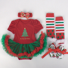 4PCs per Set Baby Girls My First Christmas Outfits Tree Tutu Dress Headband Shoes Leggings for 0-12months Free Shipping