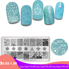Harunouta Stainless Steel Nail Art Stamping Plates Flowers Rectangle Nail Stamp Image Template Manicure Stencil Tools недорого