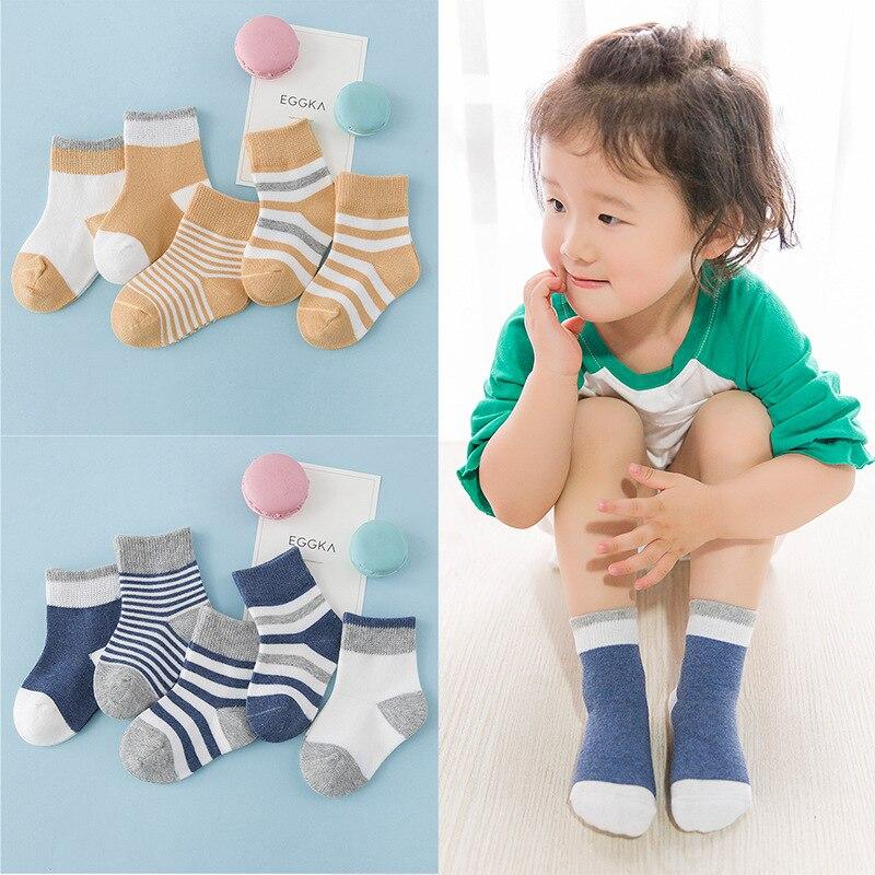 0-12 Maanden Katoen Lente Herfst Baby Meisje Jongens Kids Sokken Kinderen Gestreepte Badstof Pasgeboren Sokken