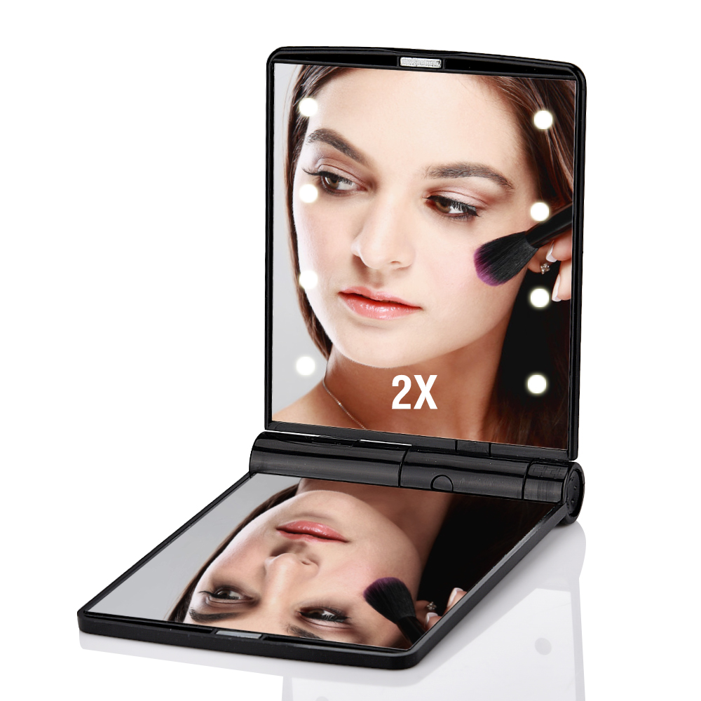 8 Lights 1X 2X Magnifier LED Screen Easy Makeup Mirror 2 Folding Adjustable Portable Compact Pocket