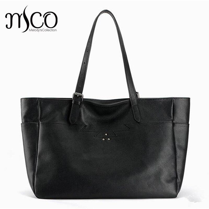 Women Large Capacity Casual Tote Luxury Handbag Genuine Leather Cowhide Ladies Shoulder Bag Fashion Designer Black Shopping Bag