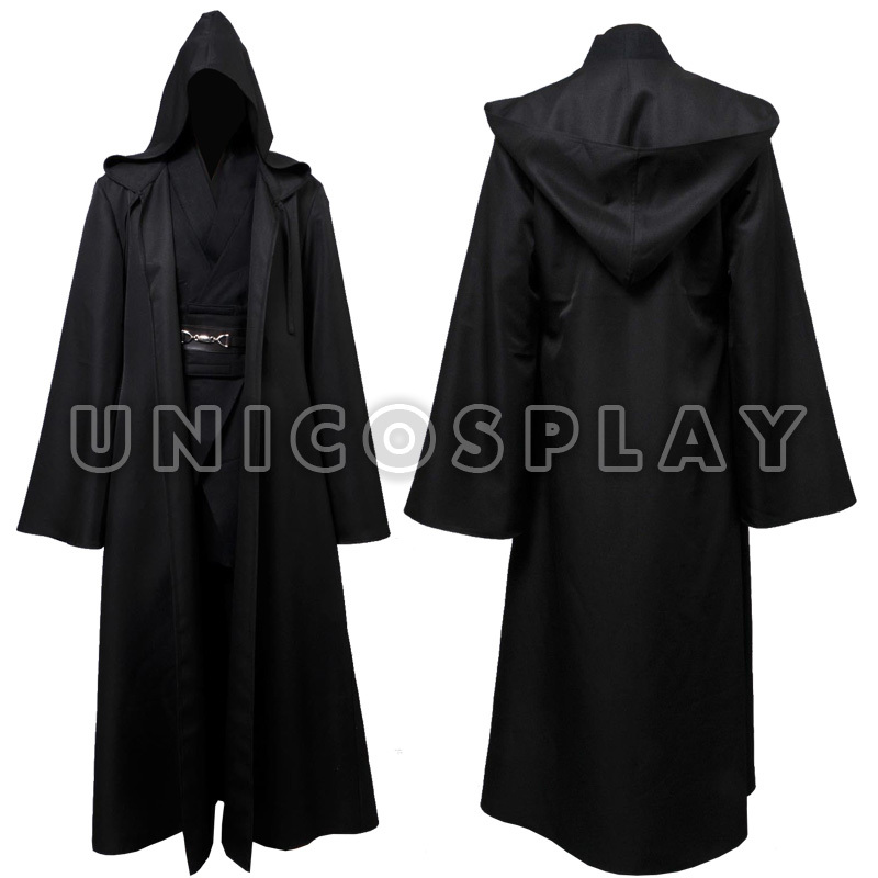 Star Wars Anakin Skywalker Jedi Robe Cosplay Costume Black Tunic Halloween Cloak Outfit For Man Adults Full Set