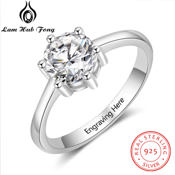 Personalized Gift Cubic Zirconia Promise Wedding Engagement Ring 925 Sterling Silver Engrave Name Rings for Women (Lam Hub Fong) black cubic zirconia 925 sterling silver men s ring