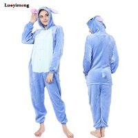 Adults Anime Stitch Unicornio Pajamas Sets Unicorn Flannel Animal Hooded Pijama Unisex Winter Sleepwear Onesies Pyjama