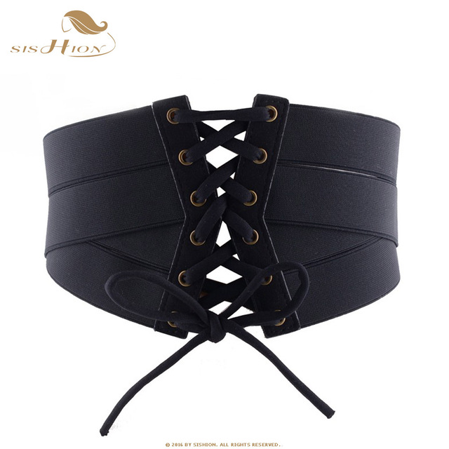 f7e7d03bc9 SISHION Hot Vintage Black Lace Up High Waist Corset Bandage Women Waist  Belt Wide Belts Training Wide Slimming Body VB0021