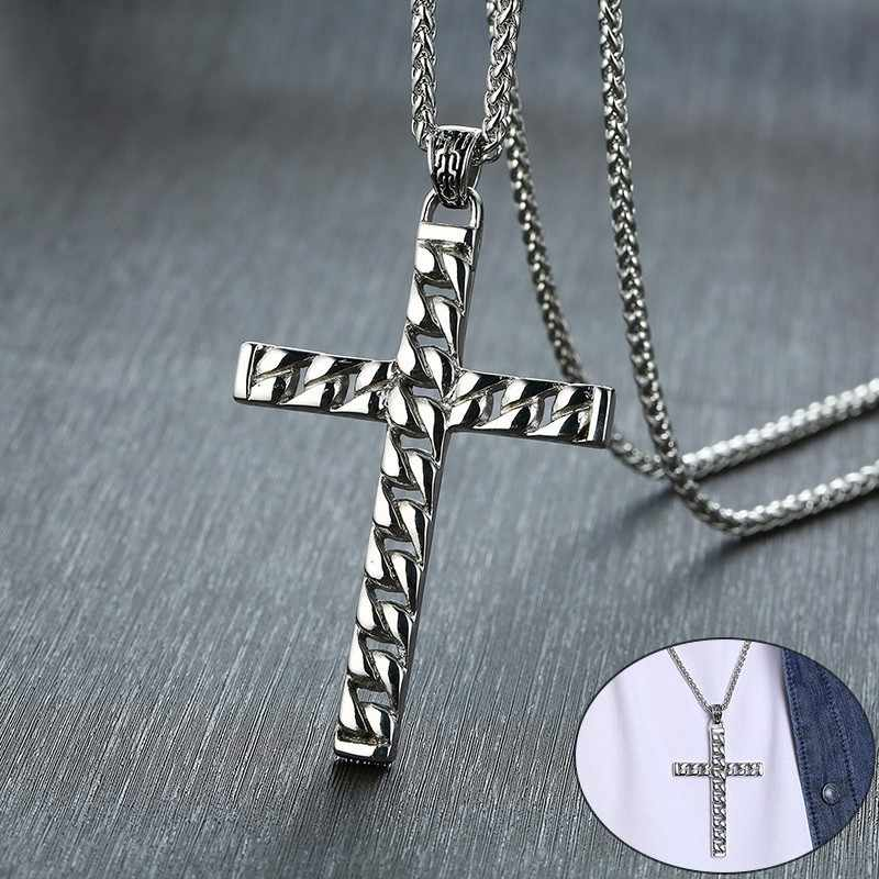 Vnox Stylish Mens Cross Chain Pendant Necklaces Stainless Steel Colar Masculino Prayer Jewelry