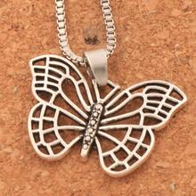 25.5x18mm 20PCS Antique Silver Hollow Butterfly Animal Pendant Necklaces 24 inches Chains N1130