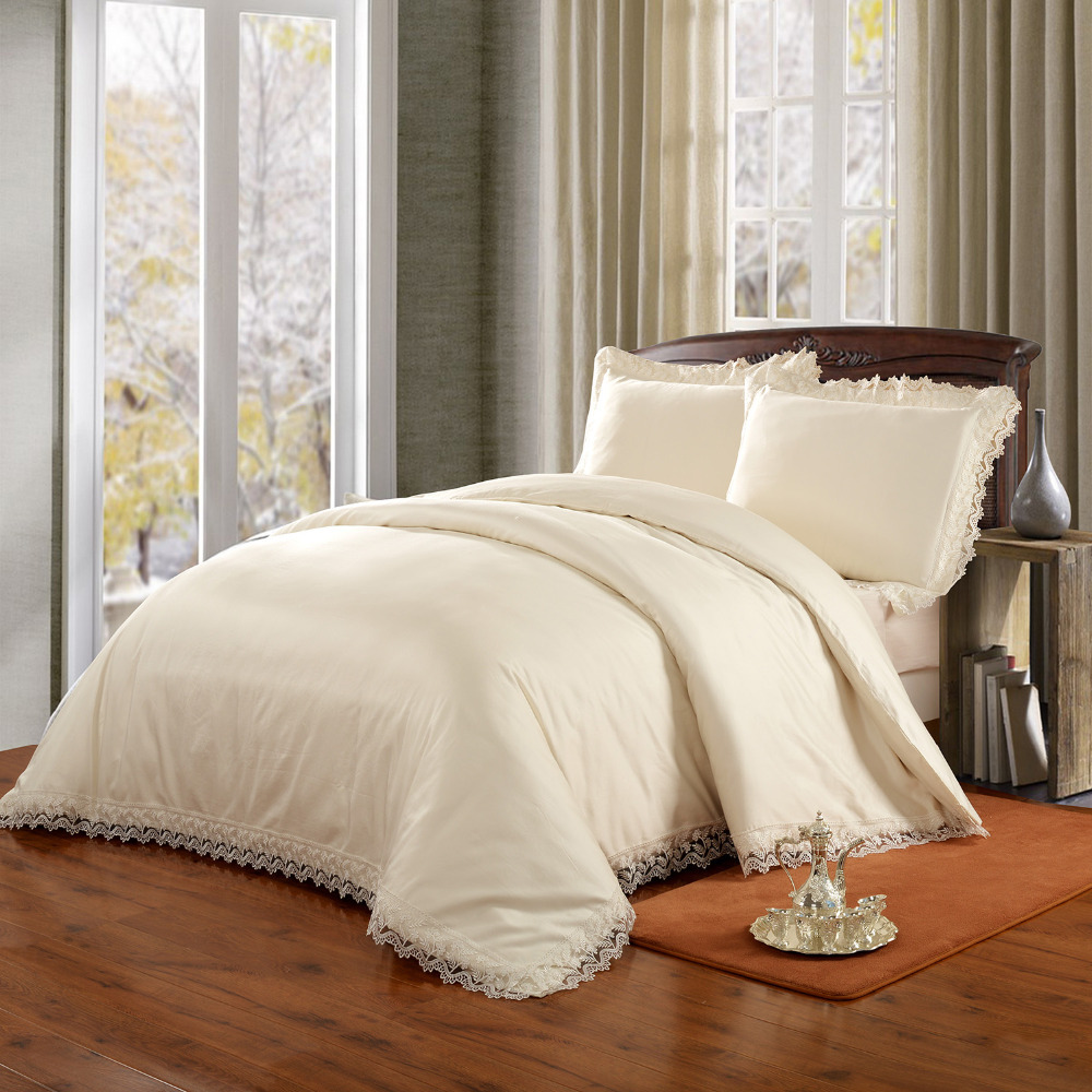online buy wholesale cream bedding from china cream bedding  - tc sateen cream bedding set with matched lace  duvet cover pillowcases(china (