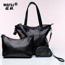 WANU новая овчина Женская композитная сумка большая черная сумка кожаная модная сумка через плечо женские офисные повседневные сумки подарок