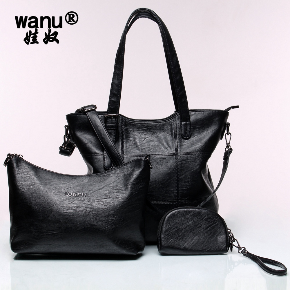 цена на WANU New Sheepskin Women Composite Bag Big Black Handbag Leather Fashion Shoulder Crossbody Bags Ladies Office Casual Totes Gift