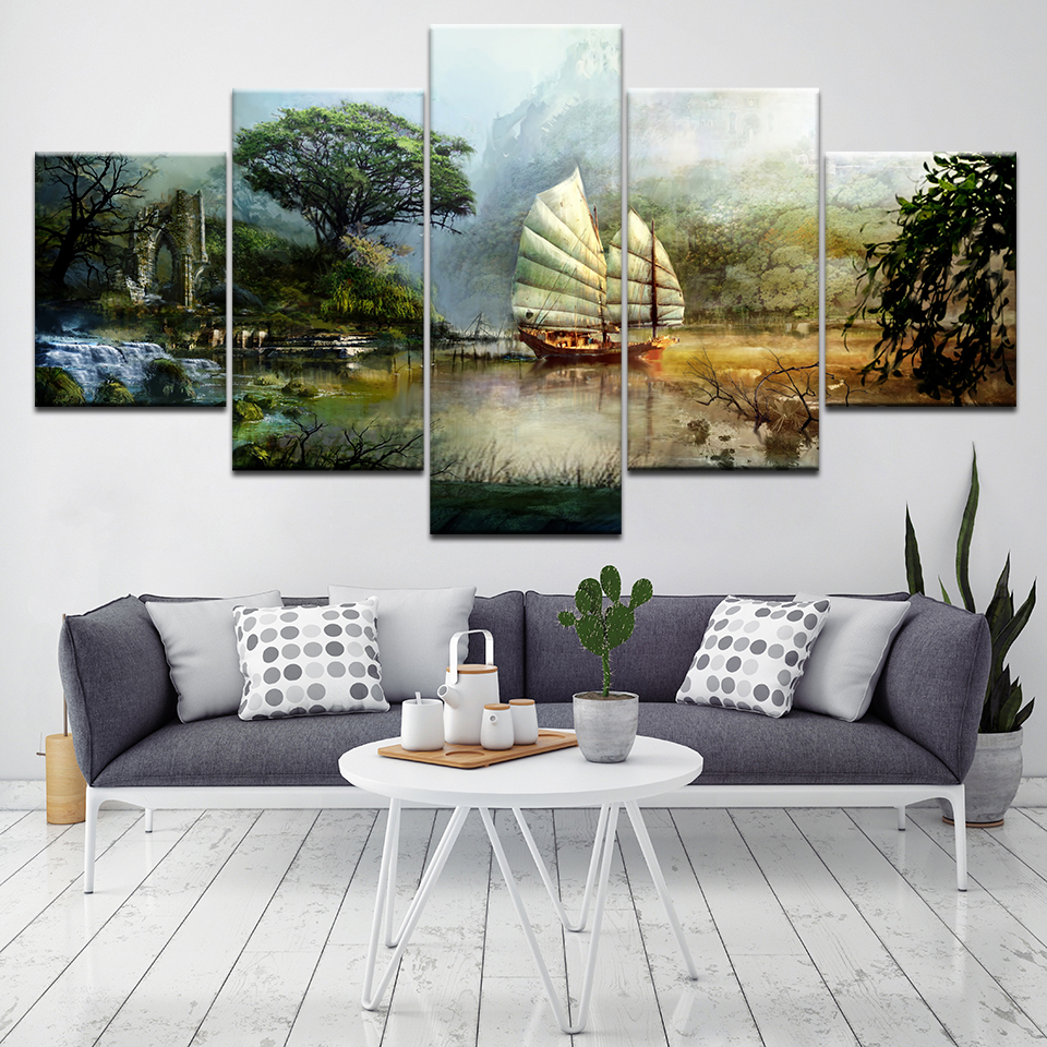 The guild wars 5 Piece Wall Art Canvas Print modern Poster Modular art painting for Living Room Home Decor
