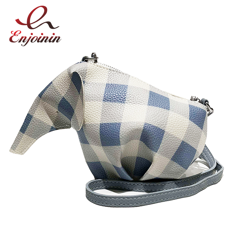 Cute Elephant Shape Design Plaid Pink & Blue Pu Leather Women's Crossbody Mini Messenger Bag Shoulder Bag Tote Bag Flap Pouch flap pu crossbody bag